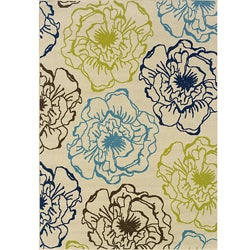 Ivory/Green Outdoor Polypropylene Area Rug (5'3 x 7'6)