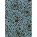 Blue/Brown Floral Outdoor Area Rug (6'7 x 9'6)