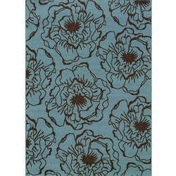 Blue/Brown Floral Outdoor Area Rug (7'10 x 10'0)