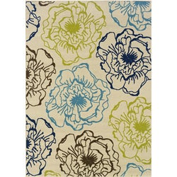 Floral Pattern Ivory/Green Outdoor Area Rug (6'7 x 9'6)