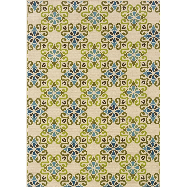"""Floral Ivory/Blue Outdoor Area Rug (5'3"""" x 7'6"""")"""