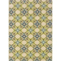 Floral Ivory/Blue Outdoor Area Rug (5'3