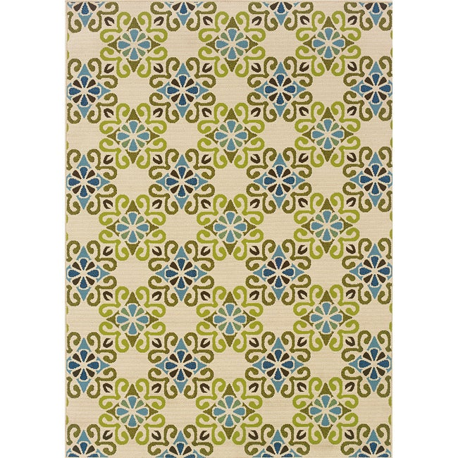 Ivory/Blue Outdoor Area Rug (6'7 x 9'6)