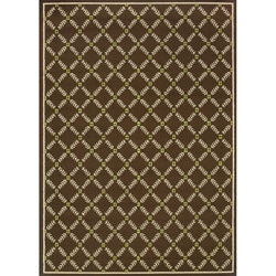 "Brown/Ivory Outdoor Rectangular Area Rug (6'7"" x 9'6"")"