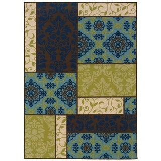 Brown/ Blue Geometric Outdoor Area Rug (7'10 x 10'10)