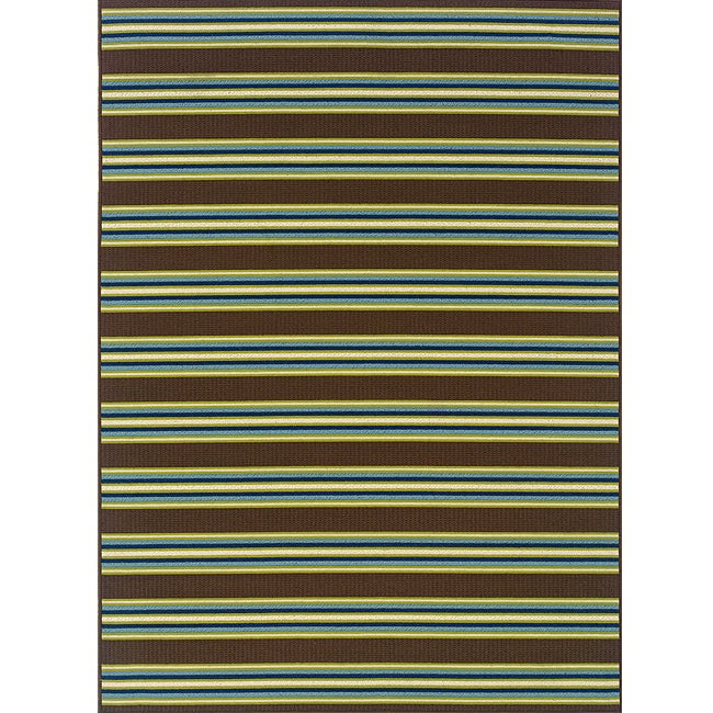 Brown Green Striped Outdoor Area Rug 6 7 x 9 6