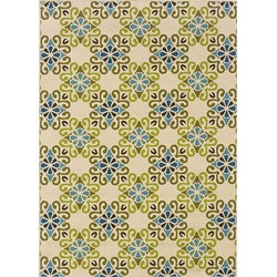 Ivory/Blue Floral Outdoor Area Rug (3'7 x 5'6)