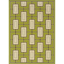 Green/Ivory Outdoor Area Rug (5'3 x 7'6)