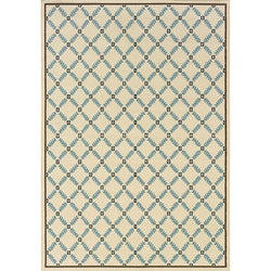 Ivory/Blue Outdoor Area Rug (3'10 x 5'6)