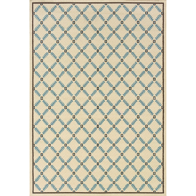"""Ivory/Blue Outdoor Area Rug (6'7"""" x 9'6"""")"""