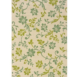 Ivory/ Green Floral Outdoor Area Rug (7'10 x 10'10)