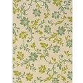 Ivory/Green Floral Outdoor Area Rug (7'10 x 10'0)