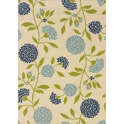 Floral Ivory/ Green Outdoor Area Rug (3'10 x 5'6)