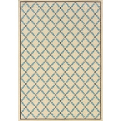 "Geometric Ivory/Blue Outdoor Area Rug (5'3"" x 7'6"")"
