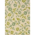 "Ivory/Green Polypropylene Outdoor Area Rug (5'3"" x 7'6"")"