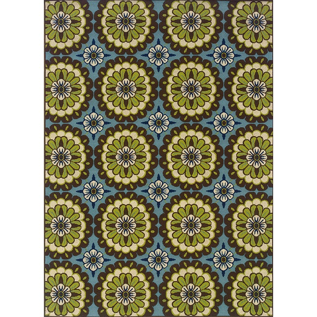 Blue/Green Outdoor Area Rug (7'10 x 10'10)