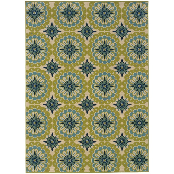 Green Ivory Outdoor Floral Area Rug 5 3 X 7 6 13875019