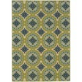 Green/Ivory Outdoor Floral Area Rug (5'3 x 7'6)