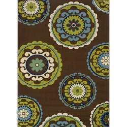 Brown/ Green Outdoor Area Rug (3'10 x 5'6)