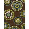 "Geometric Brown/Green Outdoor Area Rug (5'3"" x 7'6"")"
