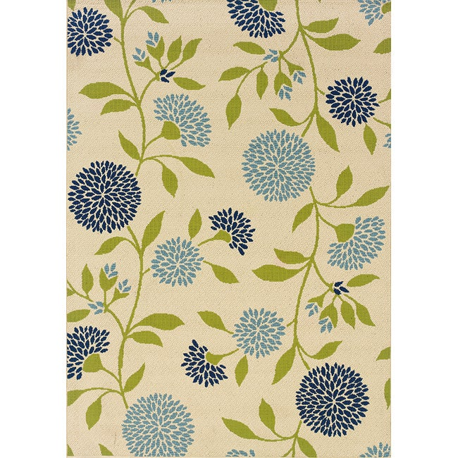 Ivory/Green Outdoor Area Rug (5'3 x 7'6)