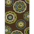 Brown/ Green Outdoor Polypropylene Area Rug (6'7 x 9'6)