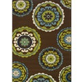 Brown/Green Contemporary Outdoor Area Rug (7'10 x 10')