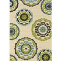 Ivory and Green Outdoor Area Rug (3'10 x 5'6)