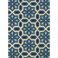 Ivory and Blue Outdoor Area Rug (3'10 x 5'6)