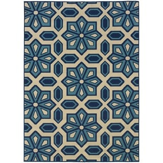 Ivory and Blue Outdoor Area Rug (3'7 x 5'6)