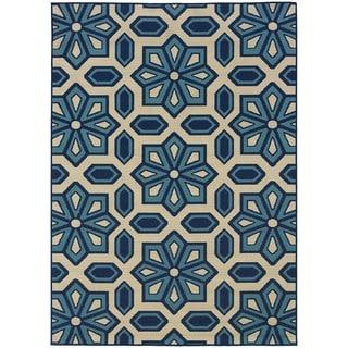 """Ivory/Blue Indoor/Outdoor Area Rug (6'7"""" x 9'6"""")"""