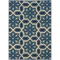 Ivory/Blue Indoor/Outdoor Area Rug (6'7