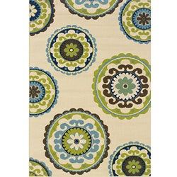 Ivory/ Green Outdoor Area Rug (7'10 x 10')