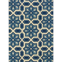Ivory/ Blue Outdoor Area Rug (5'3 x 7'6)