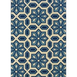 "Modern Ivory/Blue Outdoor Area Rug (7'10"" x 10')"