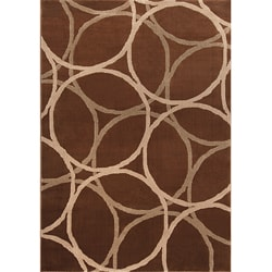 Miramar Brown/ Beige Contemporary Area Rug (5'3 x 7'6)