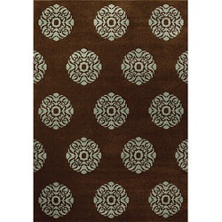 Miramar Brown/ Blue Contemporary Area Rug (5'3 x 7'6)