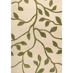 Miramar Ivory/Green Floral Area Rug (6'7 x 9'6)