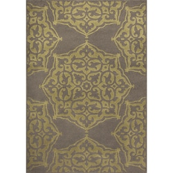 Miramar Grey/Green Floral Area Rug (5'3 x 7'6)