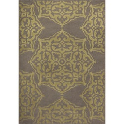 Miramar Grey/Green Floral Area Rug (5'3 x 7'6)