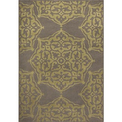 Miramar Grey/Green Floral Area Rug (7'10 x 10'0)