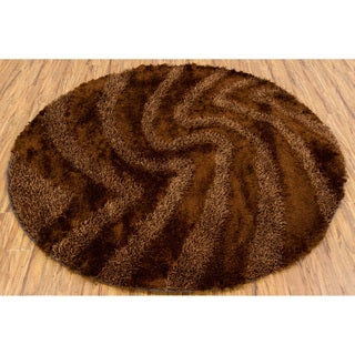 Handwoven Brown Sculptured Mandara Shag Rug (7'9 Round)