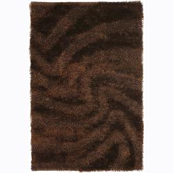 Handwoven Brown Patterned Mandara Shag Rug (5' x 7'6)