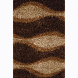 Handwoven Abstract Mandara Shag Rug (5' x 7'6)