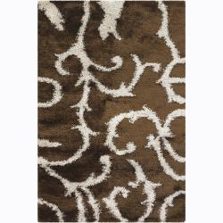 Handwoven White/Brown Mandara Shag Runner Rug (2'6 x 7'6)