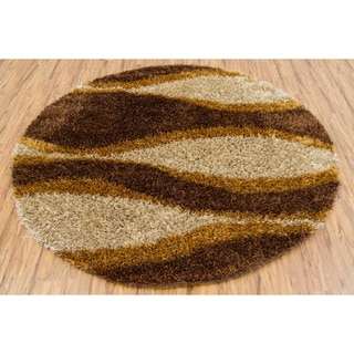 Handwoven Abstract Mandara Shag Rug (7'9 Round)