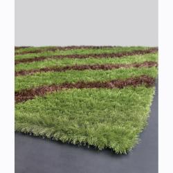 Handwoven Brown/Green Striped Mandara Shag Rug (9' x 13')