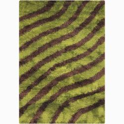 Handwoven Brown/Green Striped Mandara Shag Rug (9' x 13')
