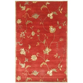 Diana Hand-tufted Red/ Gold Wool Rug (5' x 8')