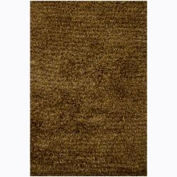 Handwoven Brown/Black Mandara Shag Rug (7'9 x 10'6)
